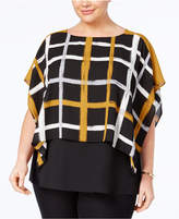 Alfani Plus Size Printed Layered-Look Poncho Top, Created for Macy's