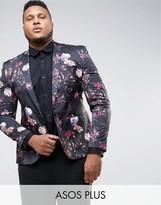 Asos PLUS Super Skinny Blazer With Floral Print