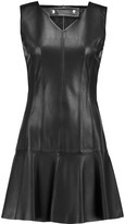 Carven Fluted leather mini dress