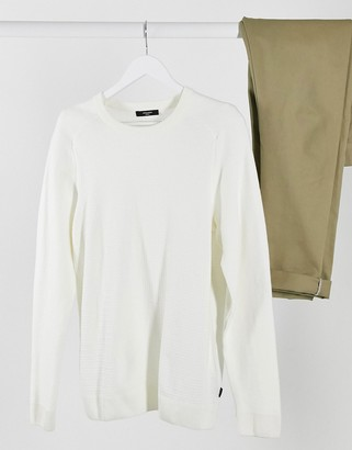 Jack and Jones textured sweater in white