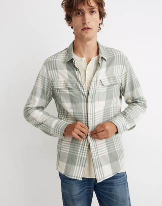 Madewell Flannel Long-Sleeve Perfect Shirt in Dolefield Plaid