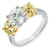 Peter Suchy Platinum 18K White Gold White Yellow Diamond Ring Size 6.5