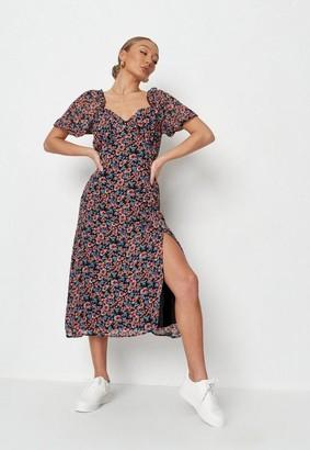 Missguided Black Floral Milkmaid Midi Dress