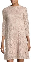 Neiman Marcus Sequin Floral Lace Three-Quarter Sleeve Cocktail Dress, Pink