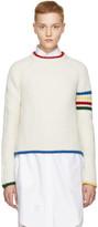 Thom Browne White Multicolor Four Bar Crewneck Pullover
