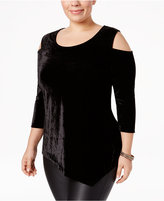 NY Collection Plus Size Velvet Cold-Shoulder Top