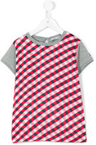 Moncler check panel T-shirt - kids - Cotton/Polyamide/Spandex/Elastane - 4 yrs