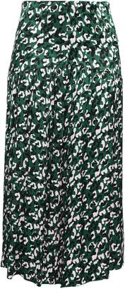 By Malene Birger Gathered Printed Satin Midi Skirt