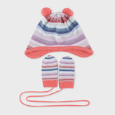 Paul Smith Baby Girls' Knitted 'Pastel-Stripe' Hat And Mitten Set