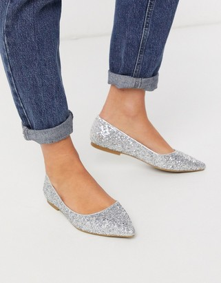 ASOS DESIGN Lucky pointed ballet flats in silver glitter