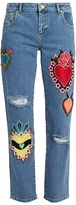 House of Holland Heart-appliqué distressed boyfriend jeans