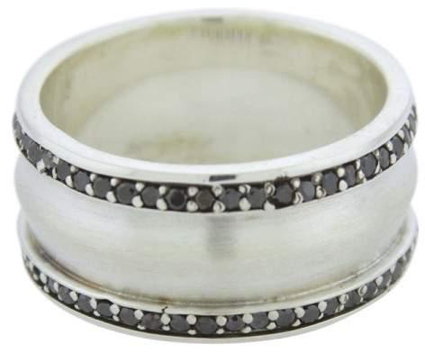 David Yurman Knife-Edge 925 Sterling Silver with Black Diamonds Band Ring Size 10