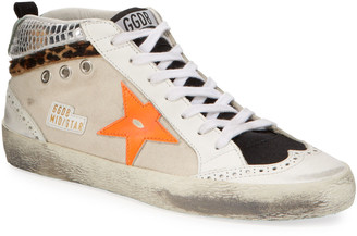 Golden Goose Mid-Star Leopard Sneakers