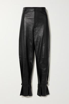 Bottega Veneta Leather Straight-leg Pants - Black
