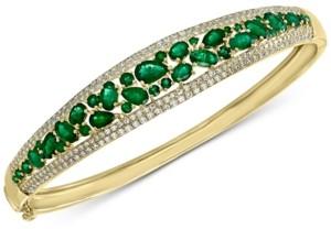 Effy Emerald (4-1/3 ct. t.w.) & Diamond (1/5 ct. t.w.) Bangle Bracelet in 14k Gold
