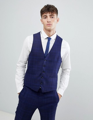 Moss Bros skinny suit vest with stretch in flannel check