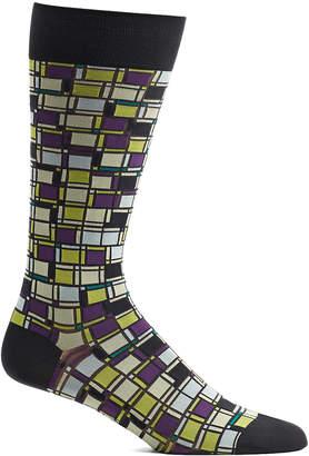 Ozone Men's Socks 18 - Gray Cubist Composition Socks - Men
