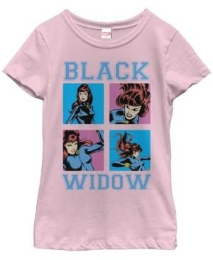 Fifth Sun Marvel Big Girl's Black Widow Classic Retro Comic Boxed Up Action Shot Short Sleeve T-Shirt