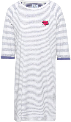 Zoe Karssen Appliqued Striped Cotton And Linen-blend Mini Dress