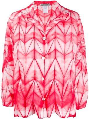 Issey Miyake button down geometric-print shirt