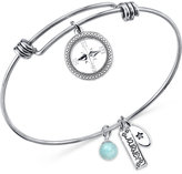 Unwritten Stainless Steel Compass Charm Bangle Bracelet