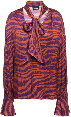 Just Cavalli Pussy-bow Printed Satin Blouse