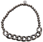 Lord & Taylor Black Sterling Silver Beaded Curbed Chain Stretchy Bracelet