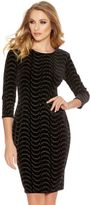 Quiz Black Velvet Glitter Print Scoop Back Midi Dress