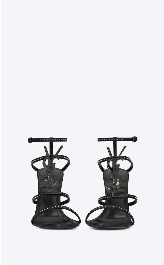 845fb1cfff Cassandra Sandals In Smooth Leather And Black Monogram Decorated With Studs