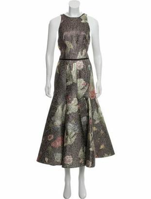 Sandra Mansour Soleil Du Printemps Printed Brocade Midi Dress w/ Tags Purple