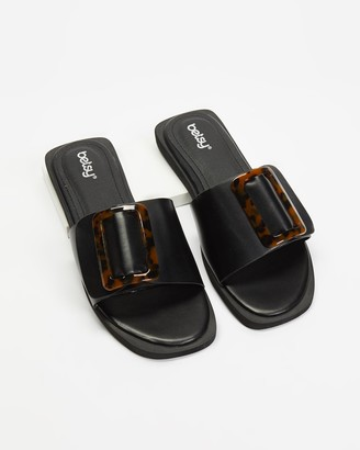 Betsy - Women's Black Flat Sandals - Buckle Slides - Size 36 at The Iconic