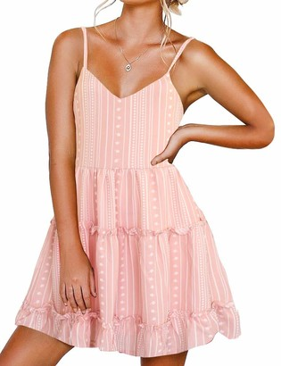 FANCYINN Womens V-Neck Spaghetti Strap Dresses Backless Sleeveless Floral Dress Ruffle Loose Swing Casual Dress Floral Print Smoke Pink Stripe M