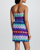 Neiman Marcus Cusp by Pleat-Bodice Printed Dress