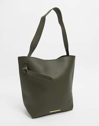 French Connection mottled leather tote bag-Green