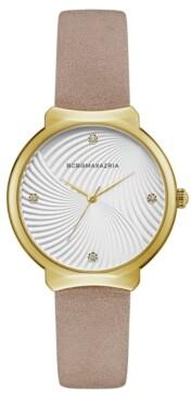 BCBGMAXAZRIA Ladies Beige Leather Strap Watch with White Wave Textured Dial, 32mm