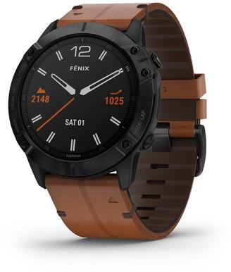 Garmin fenix 6X Sapphire Black DLC Smartwatch with Chestnut Leather Band