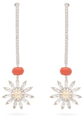Paco Rabanne Crystal And Faux-pearl Daisy Drop Earrings - Silver