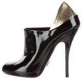Gucci Patent Leather Peep-Toe Booties