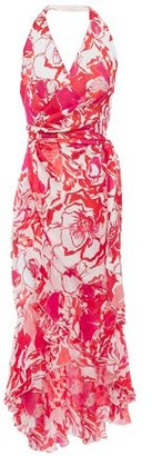 Roberto Cavalli Printed Silk-chiffon Halterneck Wrap Dress