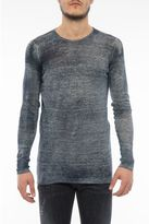 Avant Toi Crew Neck Pullover With Curled Hems