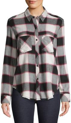 Rails Frayed-Hem Plaid Shirt