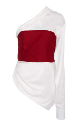 Hellessy Paloma Asymmetric Color-Blocked Satin Top