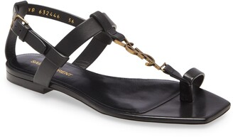 Saint Laurent Power Cassandra Logo Toe Strap Sandal