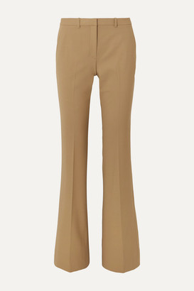 Theory Demitria Grain De Poudre Wool-blend Straight-leg Pants - Camel