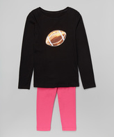 Beary Basics Black Football Tee & Leggings - Infant Toddler & Girls