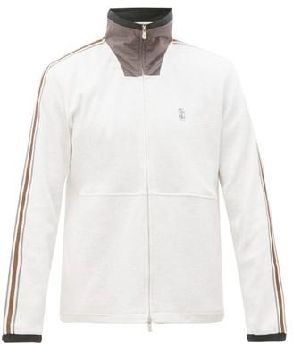Brunello Cucinelli Shell-panel Grosgrain-trimmed Jersey Track Jacket - Mens - Light Grey