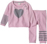 Cuddl Duds Baby Girl Heart Sweater & Striped Pants Set