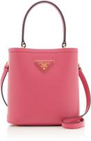 Prada Mini Textured-Leather Bucket Bag