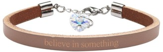 Genuine Leather Bracelet Made with Crystals From Swarovski by Pink Box Believe in Something Brown