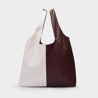 Nanushka Handbag Jo In A Patchwork White And Brown Vegan Leather